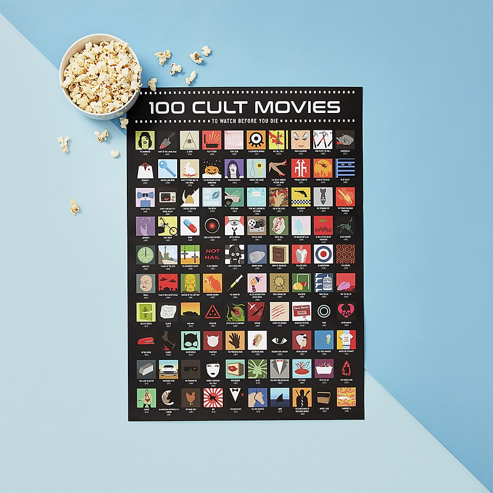 100 Cult Movies Scratch Poster