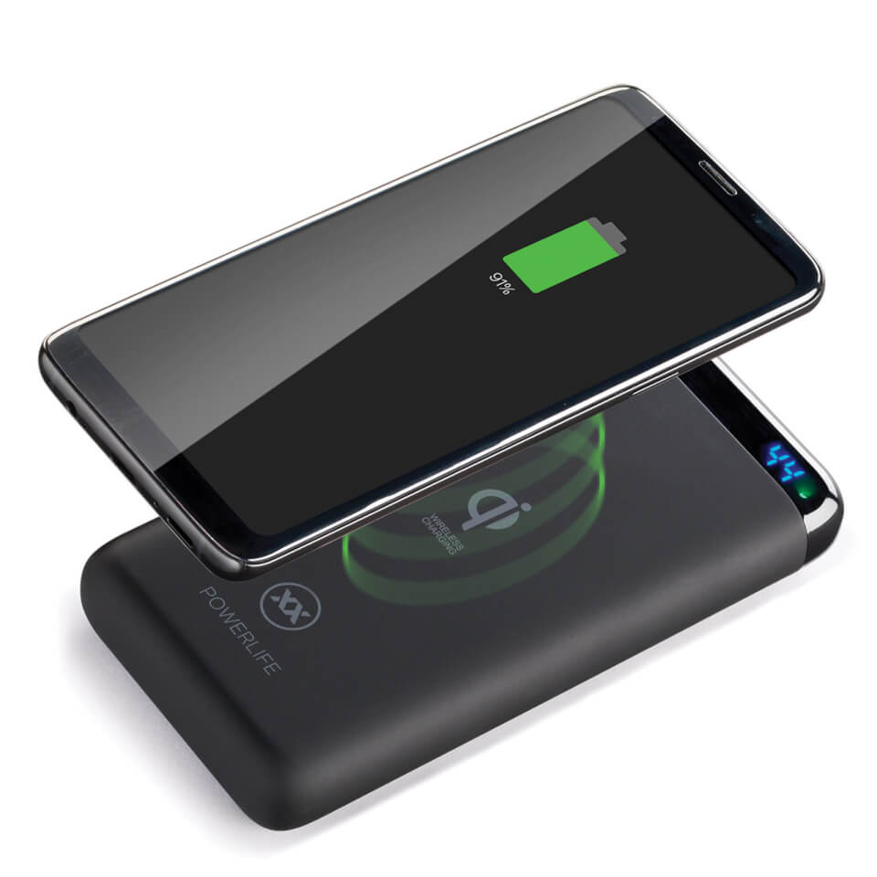 Mixx PowerLife Qi10 Wireless 10000mAh Fast Charge 2 Port USB LED