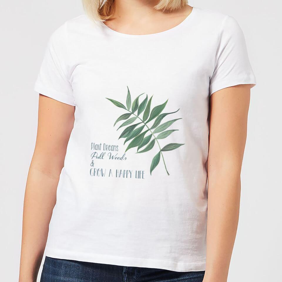 Ausgefallenkreatives - Pull Weeds Grow A Happy Life Women's T Shirt White 5XL Weiß - Onlineshop Sowas Will Ich Auch