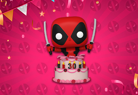 Deadpool with 30th Birthday Cake!