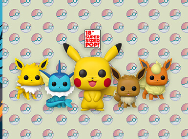 On-site and available for pre-order you can find 18-Inch Pikachu, Eevee, Vaporeon, Jolteon and Flareon!