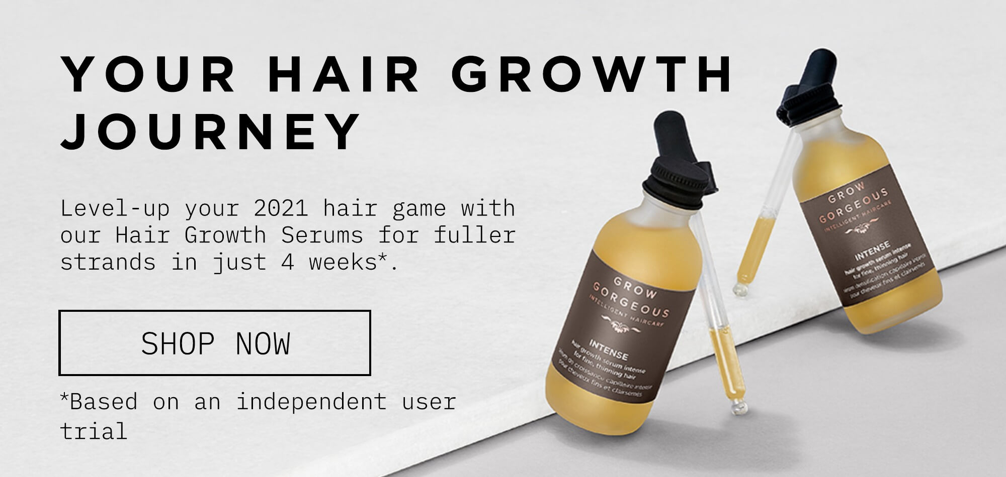 Start your hair growth journey with our hair growth serums. Click to shop Serums