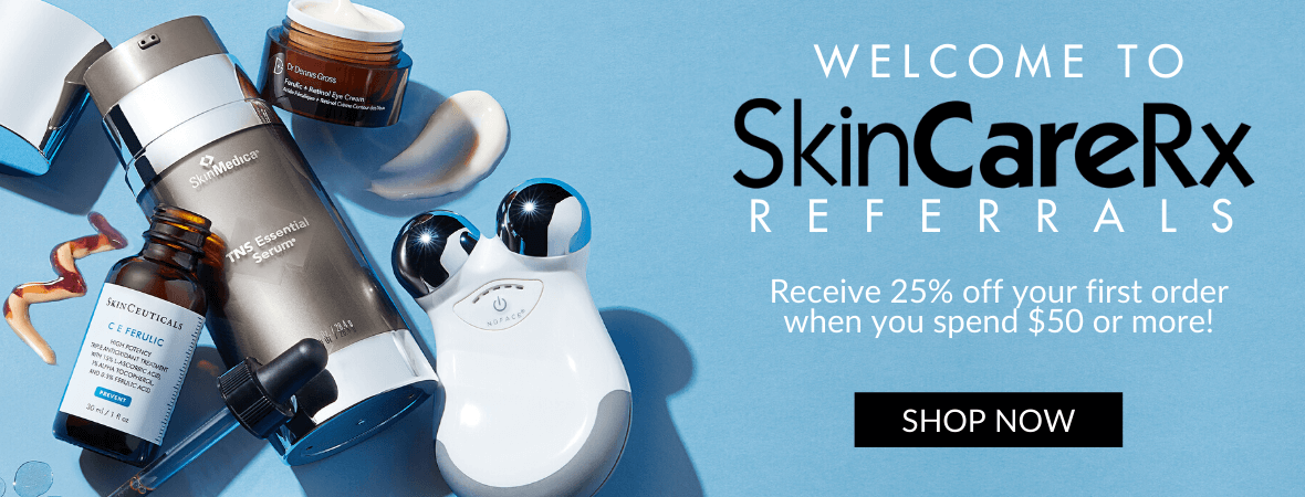 Welcome to Skincarerx referrals, receive 25% off your first order when you spend $50 of more.