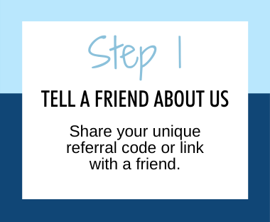 Step 1 tell a friend about us, share your unique referral code or link with a friend