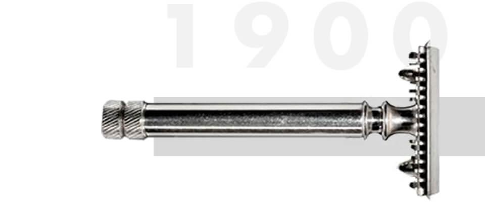 1901 entwickelt King C. Gillette die erste Einwegklinge für Rasierer und revolutioniert die Geschichte der Rasur