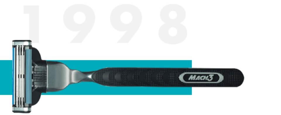 Der erste Rasierer mit 3 Rasierklingen MACH3 wurde 1998 eingeführt | Gillette Geschichte der Rasur