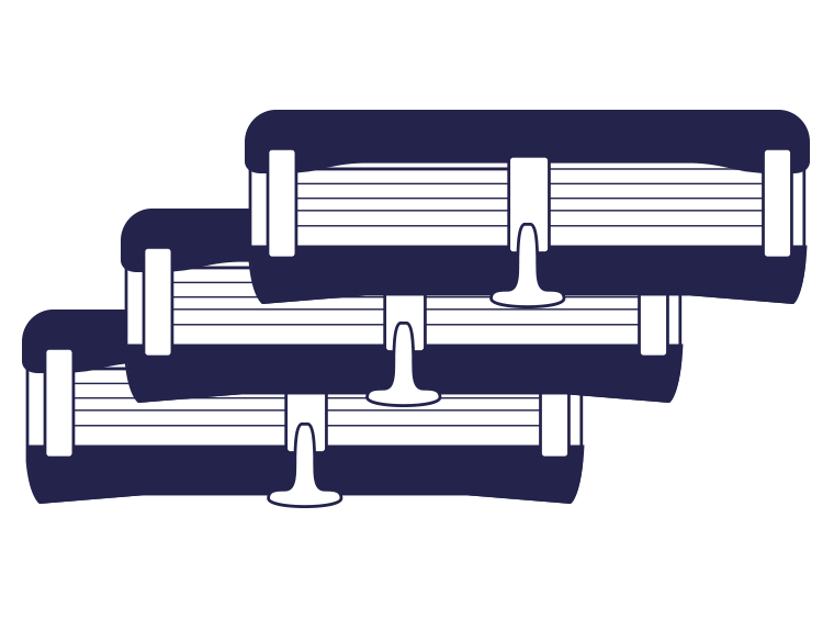 Three razor cartridges in blue for recycling