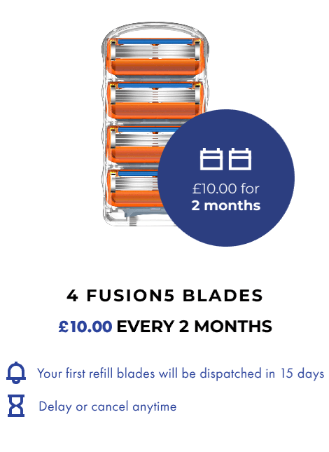 4 FUSION5 BLADES. £10 EVERY 2 MONTHS.