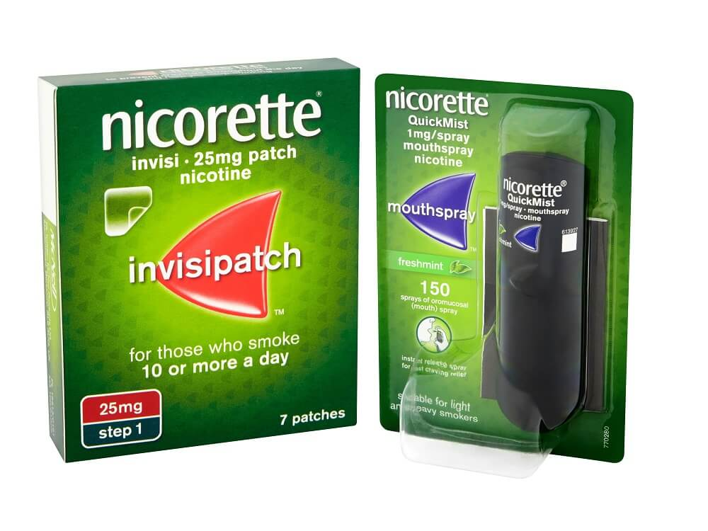NICORETTE® InvisiPatch  + NICORETTE® QuickMist  Mouthspray  £65.96 per month*