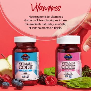Vitamines.  Notre gamme de  vitamines  Garden of Life est fabriquée à base d'ingrédients naturels, sans OGM, et sans colorants artificiels.
