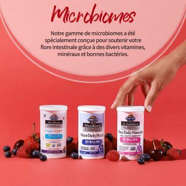 Microbiomes. Notre gamme de microbiomes a été spécialement conçue pour soutenir votre flore intestinale grace à des divers vitamines, minéraux et bonnes bactéries.