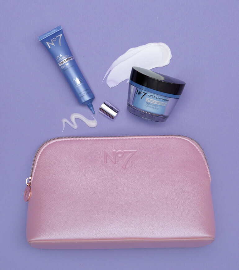 makeup bag with lift & luminate day cream & serum
