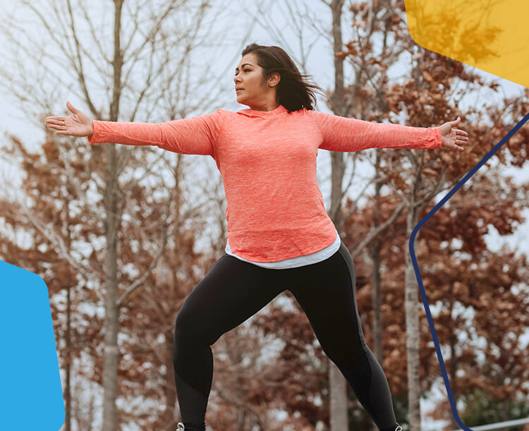 A Women doing exercise in the park