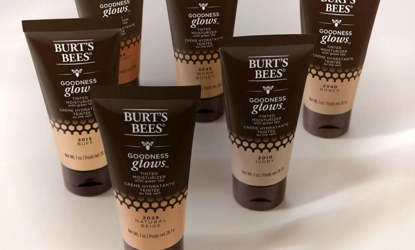 Image showing all six shades of the Burt's Bees tinted moisturiser