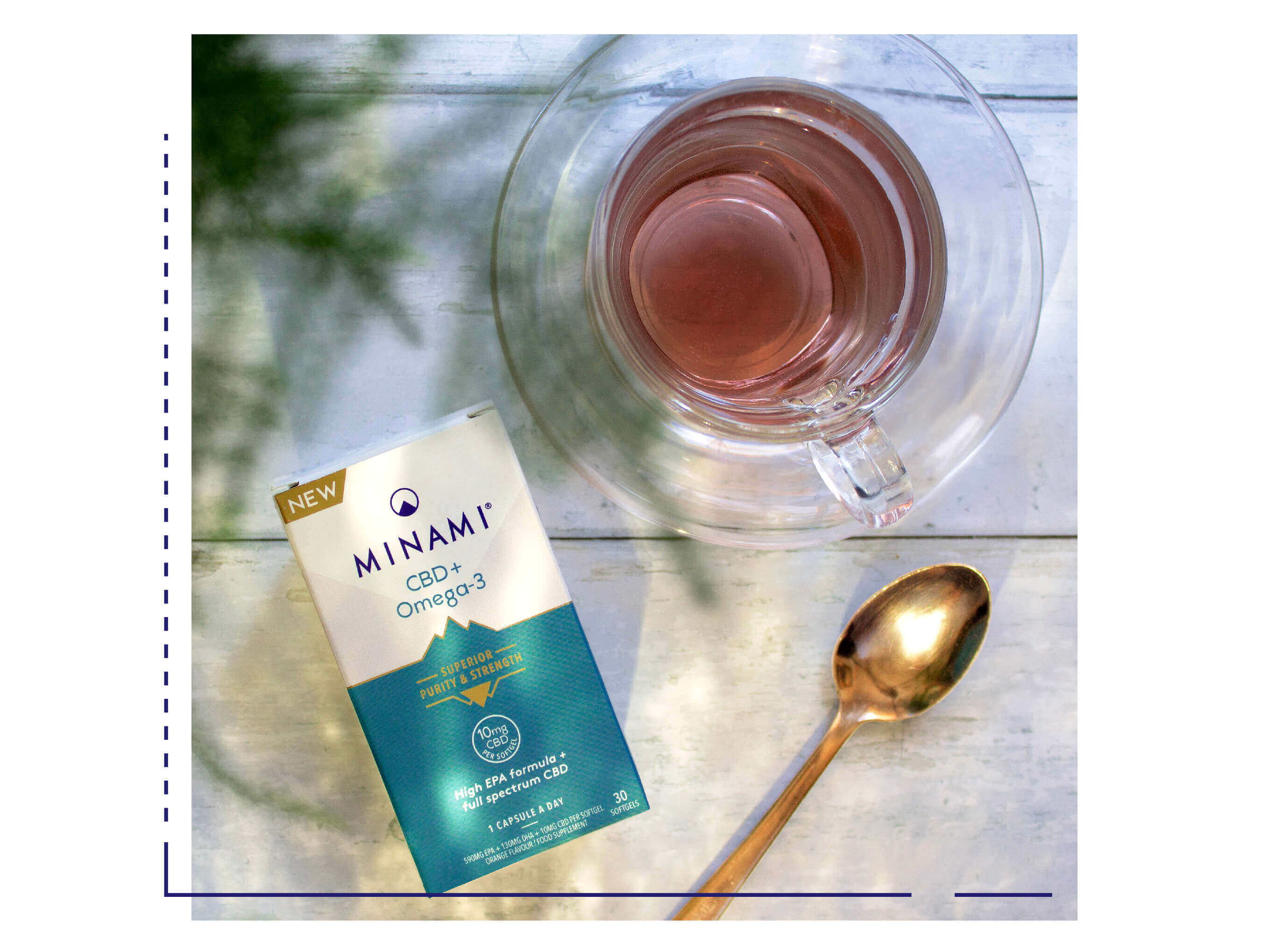 Minami Omega 3 With Tea and Spoon