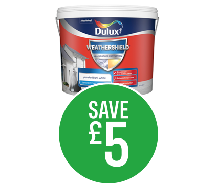 Save £5 on Dulux Weathershield Pure Brilliant White10L