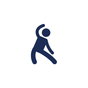 stickman icon of someone stretching