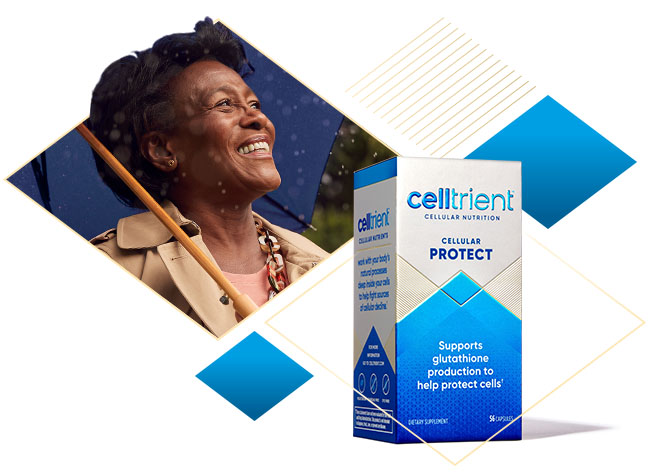 Woman smiling & Cellular Protect Product