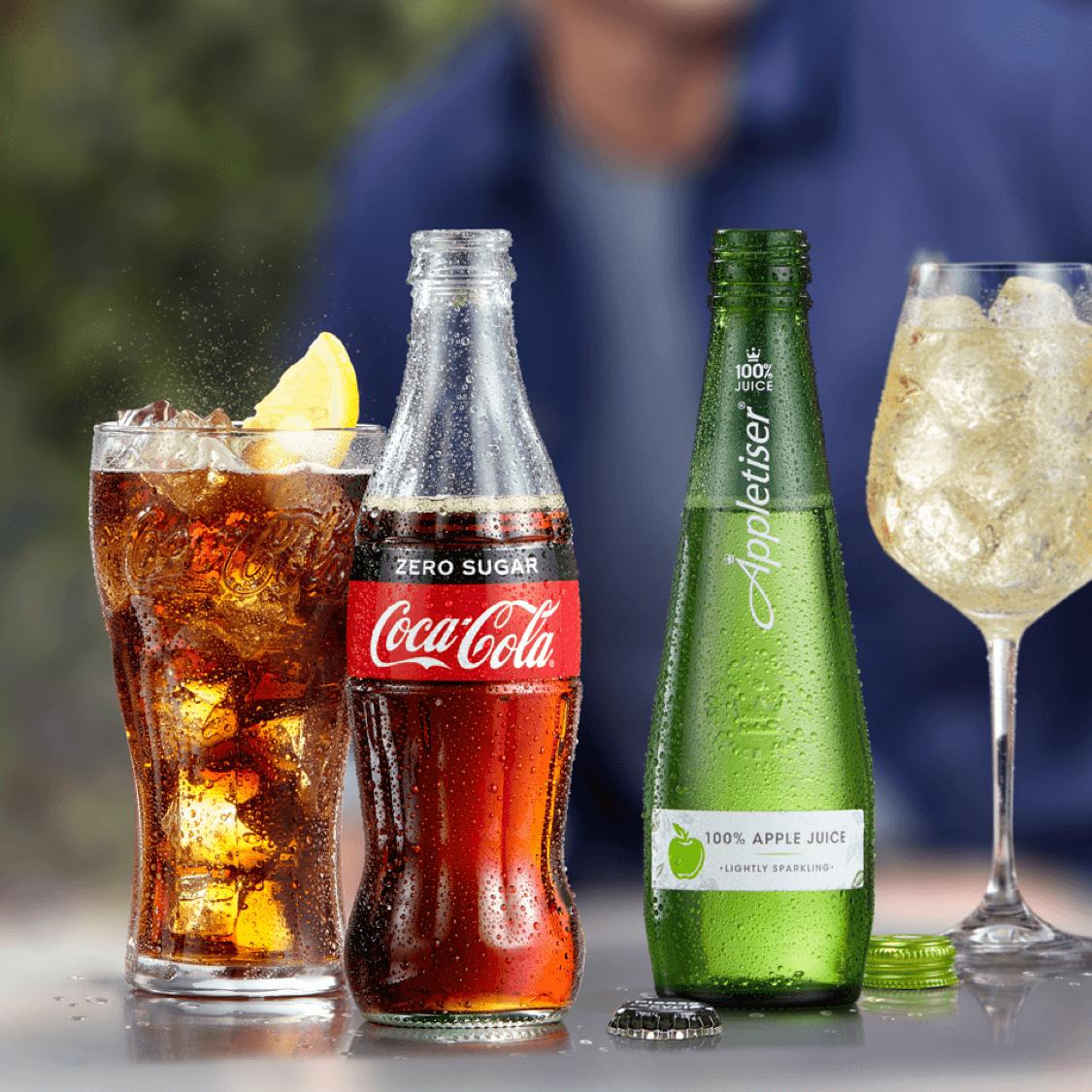 Cool Glasses of Coca-Cola Zero-Sugar and Appletizer