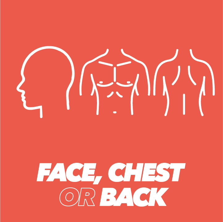 face and chest or back