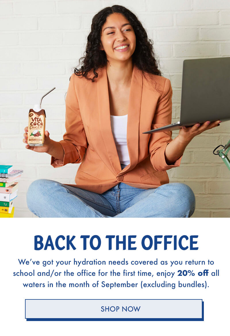 Back to the office? We've got your hydration needs covered! Enjoy 20% off all waters in the month of september!