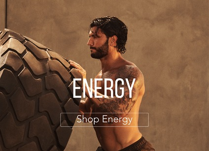 man working out with text for energy supplements