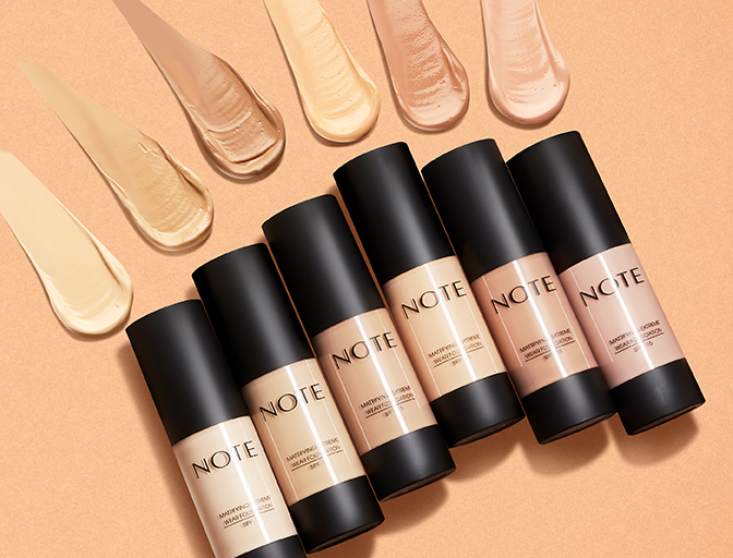Various Shades of Note Cosmetics Foundation