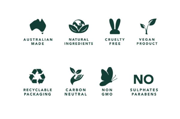 Australia made logo, Natural ingredients logo, cruelty free logo, vegan product logo, recyclable packaging logo, carbon neutral logo, non gmo logo, no sulphates parabens logo.