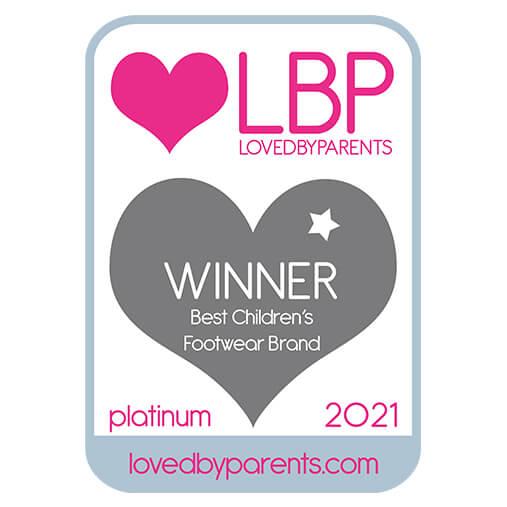 LBP Loved By Parents Awards WINNER Best Children's Footwear Brand Platinum 2021 lovedbyparents.com