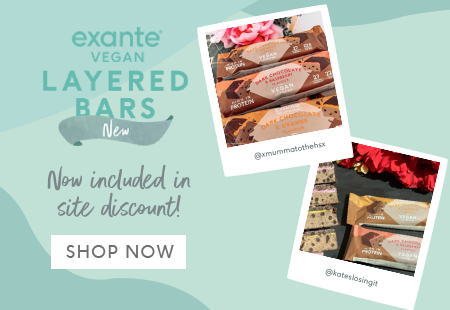 exante Vegan Layered Bars now included in site discount! Shop Now