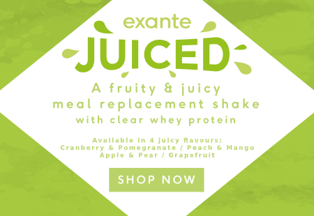 exante JUICED ' A fruity meal replacement shake with clear whey protein'