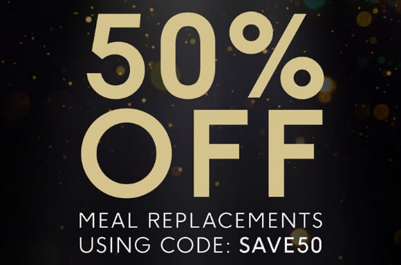 Save 45% on our meal replacement range when you quote code SAVE50 at basket.