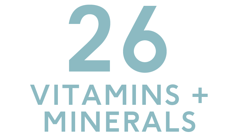 26 vitamins and minerals