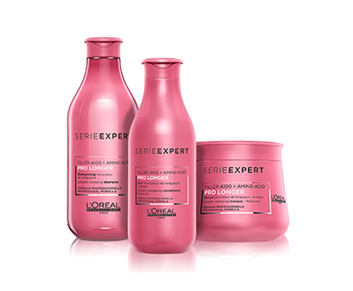 Professional Range for Long Hair. 94% hair breakage reduction and visibly thicker and fuller lengths and ends. Infused with Filler A-100 and Amino Acids. * (Instrumental test shampoo + conditioner)