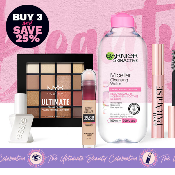 buy 3 and save 25% across a selection of bestselling beauty brands