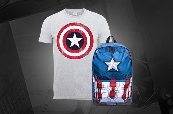 CAPTAIN AMERICA<br> BAG & T-SHIRT</br>