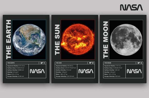 NASA Mission Erde, Mond und Sonne Art Print Karten