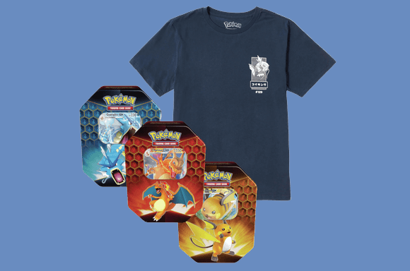 Pokémon TCG Booster Pack Tin & Tee Bundle