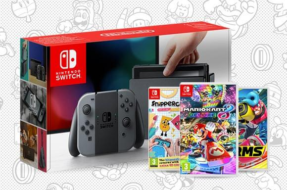 Nintendo Switch  with Arms, Snipperclips Plus, Mario Kart 8
