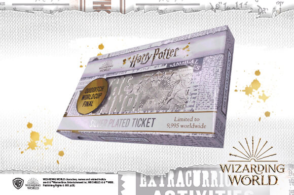 Harry Potter <br> Silver Plated Quidditch World Cup Ticket
