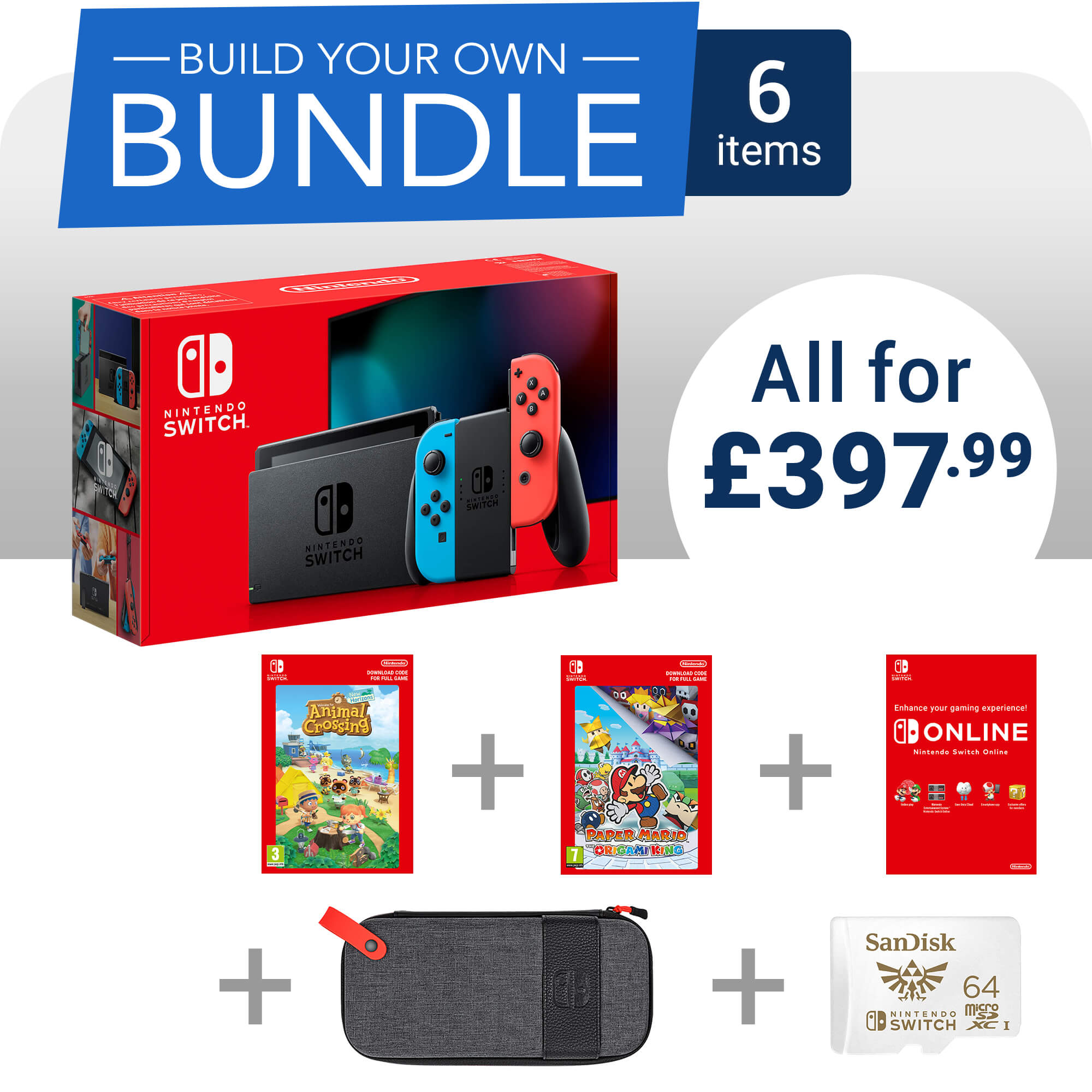 Build Your Own Nintendo Switch Bundle - 6 items - £397.99