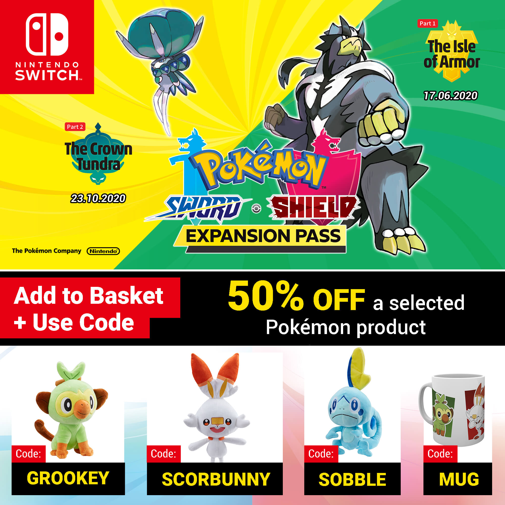 Pokémon Sword and Pokémon Shield - Expansion Pass with 50% off a selected Pokémon product - add to basket and use code