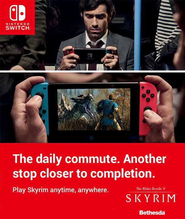 The daily commute. Another stop closer to completition - Play Skyrim anytime, anywhere on Nintendo Switch.
