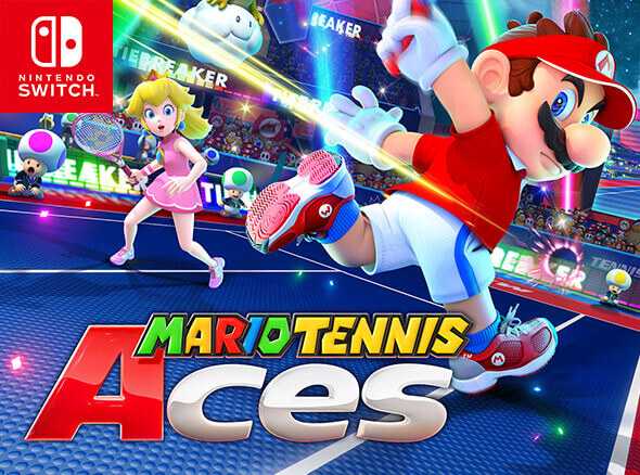In this action-packed sports game, up to four players can ready their rackets and choose from a number of Super Mario series characters, from the main man Mario himself to forgotten favourites like Dry Bones! Whether you're a newcomer just getting into the swing of things, or a seasoned pro looking for deep strategic payoffs, Mario Tennis Aces serves up a superior game of tennis!