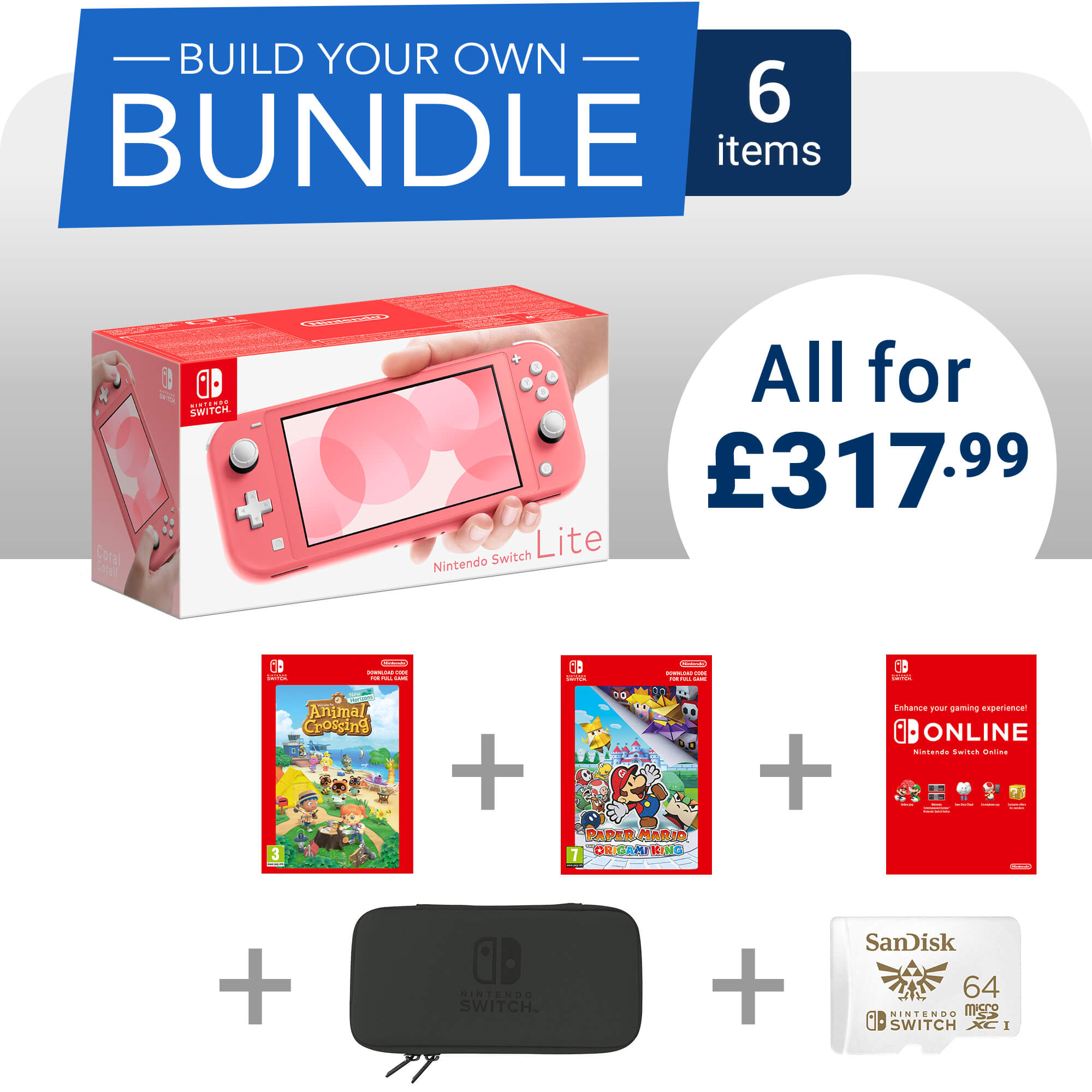 Build Your Own Nintendo Switch Lite Bundle - 6 items - £317.99